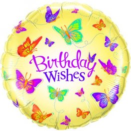 "18"" Birthday Wishes Butterflies Foil Balloons"