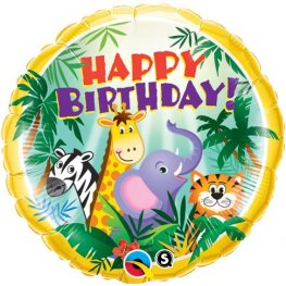"18"" Birthday Jungle Friends Foil Balloons"