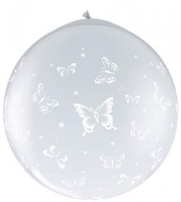 3ft Butterflies Around Neck Up Giant Latex Balloons 2pk