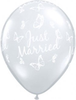 "11"" Diamond Clear Just Married Butterflies Latex Balloons 25pk"