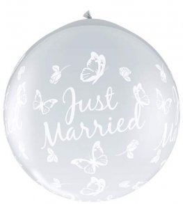 3ft Just Married Butterflies Neck Up Giant Latex Balloons 2pk