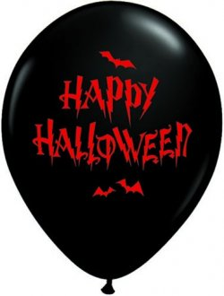 "11"" Haunted Halloween Bats Latex Balloons 25pk"