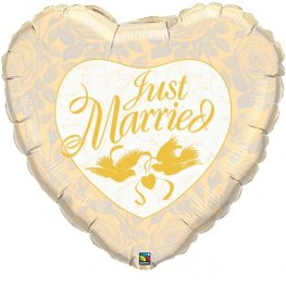 "36"" Just Married Ivory and Gold Foil Balloons"