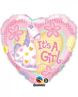 "9"" Its A Girl Soft Pony Air Filled Balloons"