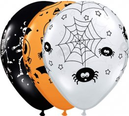 "11"" Halloween Spooky Assorted Latex Balloons 25pk"