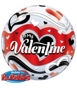 "22"" To My Valentine Banner Hearts Single Bubble Balloons"