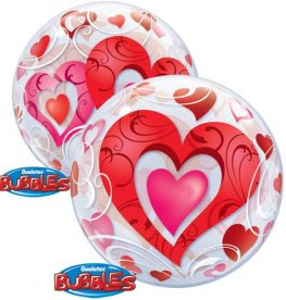 "22"" Red Hearts And Filigree Single Bubble Balloons"