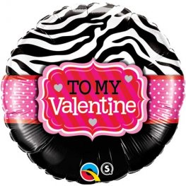 "18"" To My Valentine Zebra Stripes Foil Balloons"