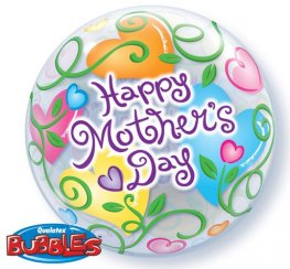 "22"" Mothers Day Curly Hearts Single Bubble Balloons"