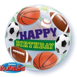 "22"" Happy Birthday Sport Balls Single Bubble Balloons"