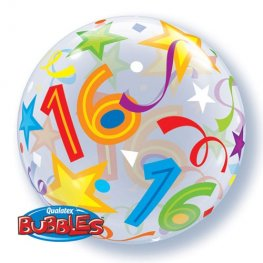 "22"" 16th Birthday Brilliant Stars Single Bubble Balloons"