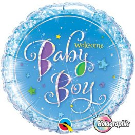 "18"" Welcome Baby Boy Stars Foil Balloons"