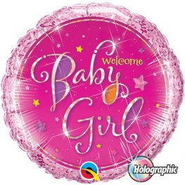 "18"" Welcome Baby Girl Stars Foil Balloons"