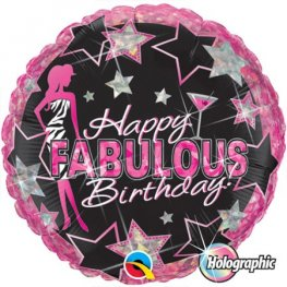 "18"" Happy Fabulous Birthday Foil Balloons"