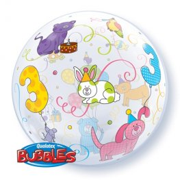 "22"" Age 3 Cuddly Pets Single Bubble Balloons"