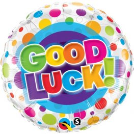 "18"" Good Luck Colourful Dots Foil Balloons"