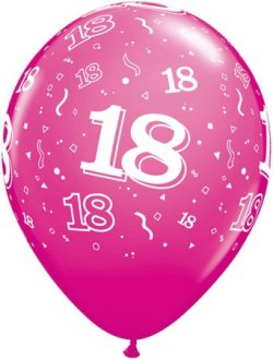 "11"" 18 Around Wild Berry Latex Balloons 25pk"