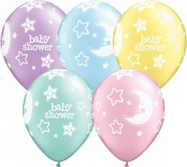 "11"" Baby Shower Moons And Stars Latex Balloons 25pk"