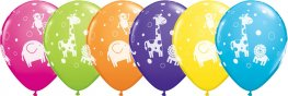 "11"" Cute & Cuddly Jungle Animals Latex Balloons 25pk"