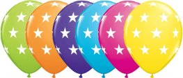 "11"" Assorted Big Stars Latex Balloons 25pk"