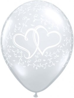 "11"" Entwined Hearts Diamond Clear Latex Balloons 50pk"