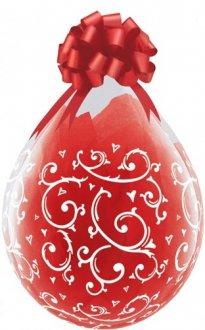 "18"" Filigree and Hearts-A-Round Stuffing Latex Balloons 25pk"