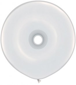 "16"" White GEO Donut Latex Balloons 25pk"