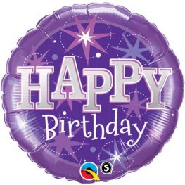 "18"" Birthday Purple Sparkle Foil Balloons"