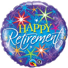 "18"" Happy Retirement Colorful Bursts Foil Balloons"