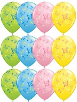 "11"" Butterflies Assorted Latex Balloons 50pk"