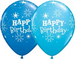 "11"" Birthday Sparkle Dark Blue & Robins Blue Latex Balloon 25pk"