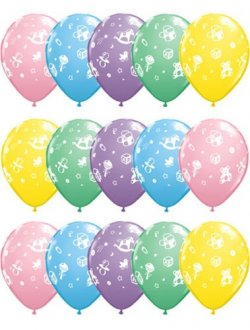 "11"" Babys Nursery Assorted Latex Balloons 25pk"