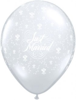 "16"" Just Married Flowers Latex Balloons 50pk"