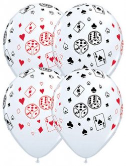 "11"" Cards and Dice Latex Balloons 25pk"