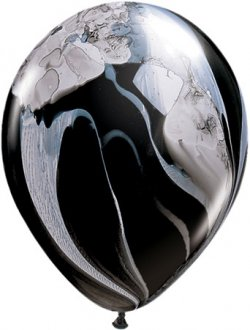 "11"" Black And White Super Agate Balloons 25pk"