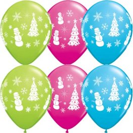"11"" Festive Winter Scene Latex Balloons 25pk"