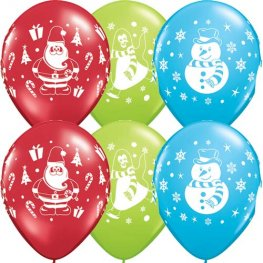 "11"" Snowman Penguin And Santa Latex Balloons 25pk"