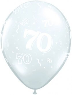 "11"" 70 Around Diamond Clear Latex Balloons 50pk"