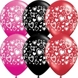 "11"" Double Heart Wrap Latex Balloons 25pk"