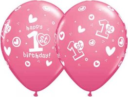 "11"" 1st Birthday Circle Hearts Girl Latex Balloons 25pk"