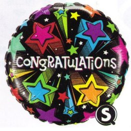 "18"" Congratulations Shooting Stars Foil Balloons"
