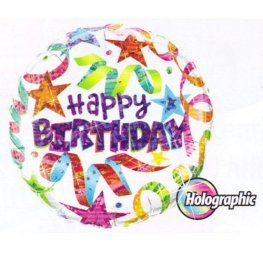 "18"" Birthday Stars and Streamers White Foil Balloons"