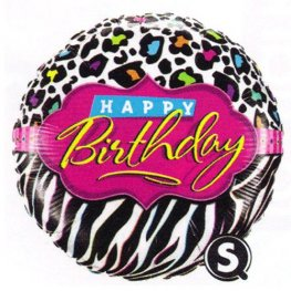 "18"" Birthday Leopard Zebra Patterns Foil Balloons"