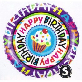 "18"" Happy Birthday Repeat Cupcake Foil Balloons"