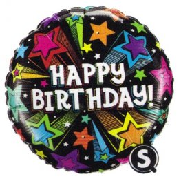 "18"" Birthday Colourful Shooting Stars Foil Balloons"