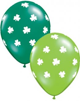 "11"" Big Shamrocks Latex Balloons 25pk"