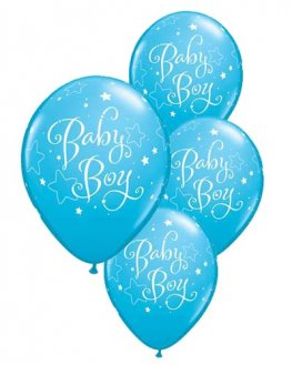 "11"" Baby Boy Stars Latex Balloons 6pk"