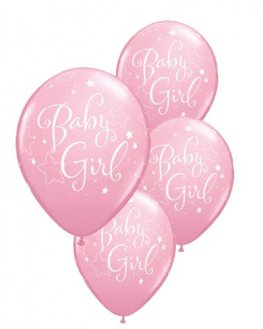 "11"" Baby Girl Stars Latex Balloons 6pk"