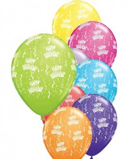 "11"" Happy Birthday Around Latex Balloons 6pk"