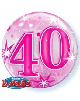 "22"" 40th Pink Starburst Sparkle Single Bubble Balloons"